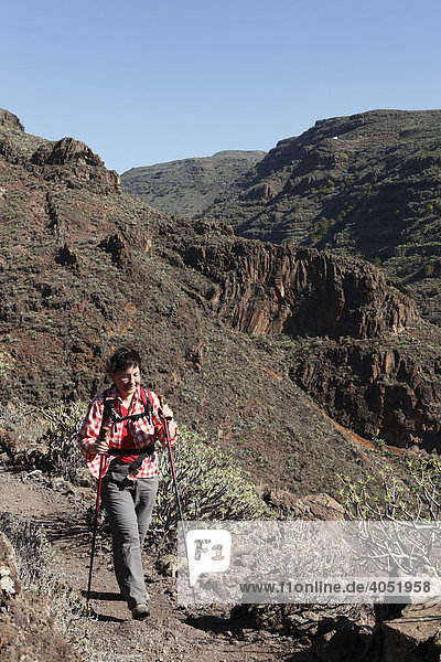 Frau wandert mit Wanderstöcken  Barranco de Argaga  La Gomera  Kanarische Inseln  Kanaren  Spanien  Europa