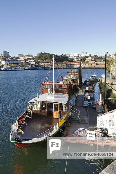 Tourist boats at the quay on the Rio Duoro River  Porto  UNESCO World Cultural Heritage Site  Portugal  Europe