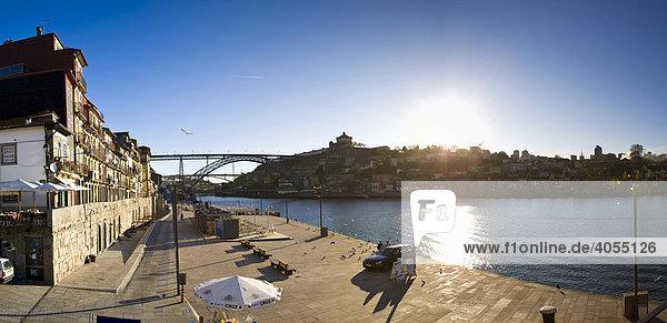 Cais da Ribeira with a view of the Ponte de Dom Luis I  Dom Luis I Bridge  Rio Duoro River  Ribeira Quay  Porto  Portugal  Europe
