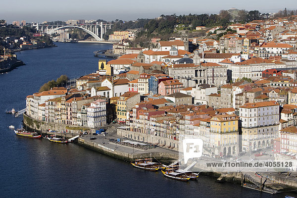 View of the historic town centre of Porto with the Rio Duoro River from the Vila Nova de Gaia quarter  at back the Ponte de Arr·bida Bridge  Porto  UNESCO World Cultural Heritage Site  Portugal  Europe