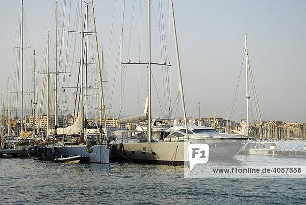 Boote im Jachthafen an der Passeig Maritim  Reial Club Nautic  Port de Palma  Mallorca  Balearen  Mittelmeer  Spanien  Europa