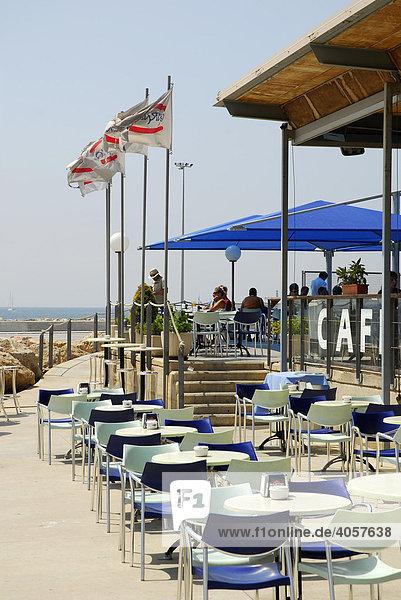 Varadero Bar Cafe  Terrasse mit Meeresblick im Hafen auf der alten Mole  Muelle Viejo  Moll Vell  Port de Palma  Palma de Mallorca  Mallorca  Balearen  Mittelmeer  Spanien  Europa