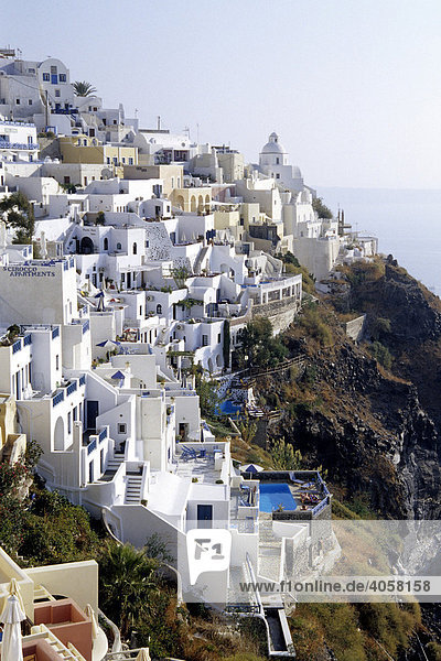 Fira  capital city  with its white houses at the crater rib of the volcano  Island of Santorini  Thera or Thira  Cyclades  the Aegean  Mediterranean Sea  Greece  Europe