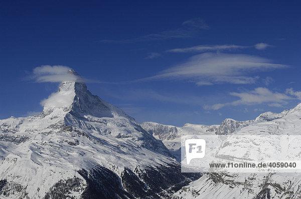Ostwand  Hörnligrat  Matterhorn  Zermatt  Wallis  Schweiz  Europa
