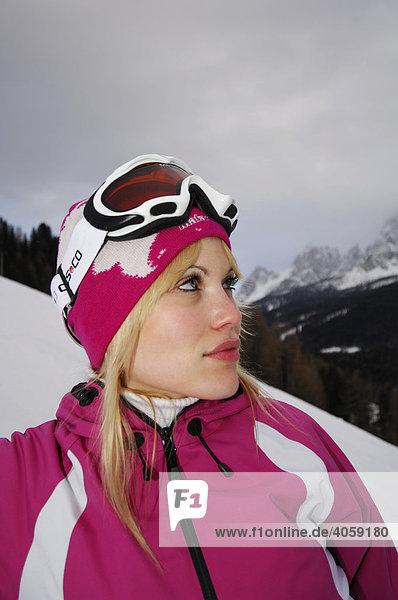 Skier  woman  portrait  High Puster Valley or Alto Pusteria  Bolzano-Bozen  Dolomite Alps  Italy  Europe