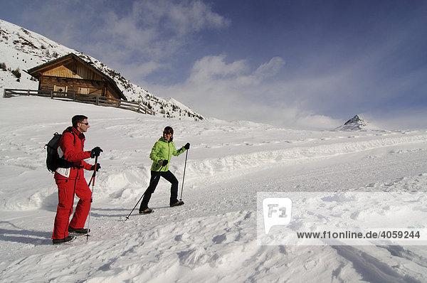 Wanderer bei der Alpe Nemes-Hütte  Hochpustertal  Südtirol  Dolomiten  Italien  Europa