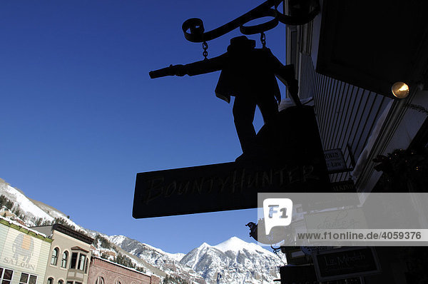 Bountyhunter  Antiquitätenladen  Schild  Mainstreet  Telluride  Colorado  USA