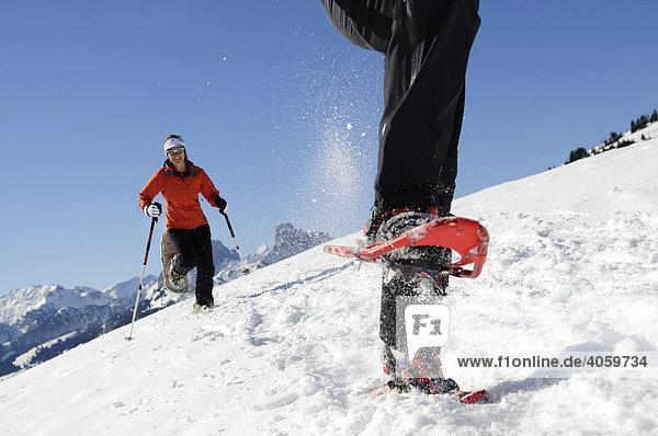 Schneeschuh-Wanderer  Zweisimmen  Rueblihorn  Gummfluh  Saanenland  Gstaad  Westalpen  Berner Oberland  Schweiz  Europa
