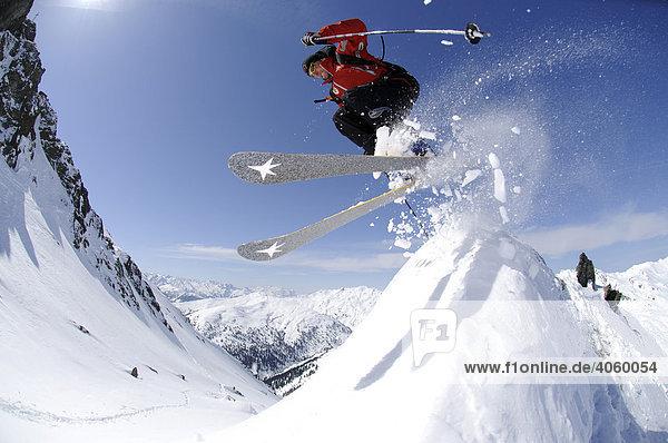 Ski wanderer on ski tour  ski-run from Tristkopf  Kelchsau  Tyrol  Austria  Europe