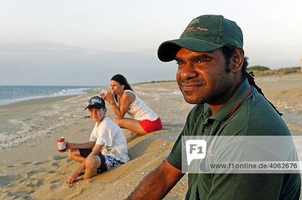 Aborigine ranger on the beach  Cape York Turtle Rescue  Mapoon  Cape York Peninsula  Queensland  Australia