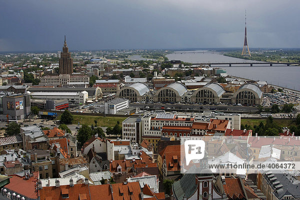 Aerial photograph of the historic city centre of Riga with market halls  Latvian Academy of Sciences  known as Stalins Birthday Cake  Daugava River and the television tower  Riga  Latvia  Baltic region  Europe