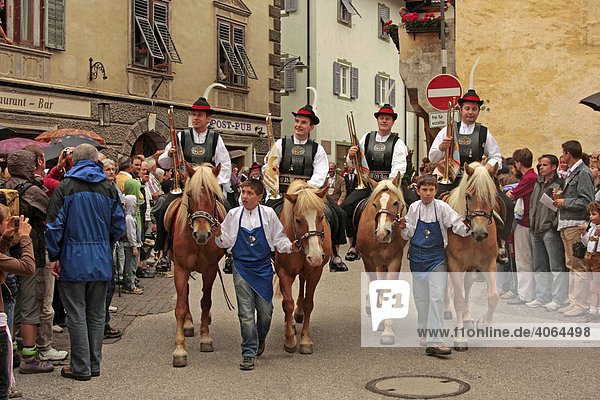 Fanfare riders during the traditional Sarn Church festival in Sarntheim  Sarntaler Alps  Province of Bolzano-Bozen  Italy  Europe