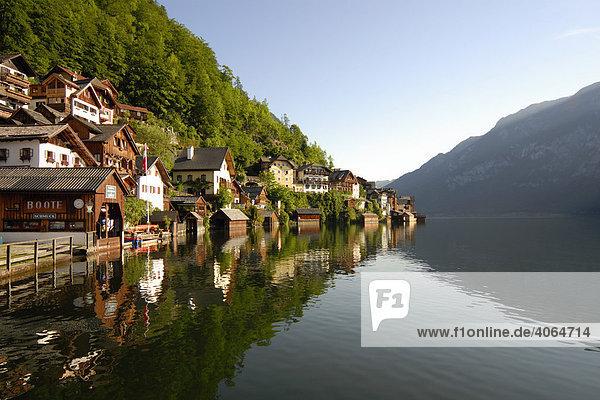 Häuser im Dorf Hallstatt am Hallstätter See  Hallstatt-Dachstein-Salzkammergut  Weltkulturerbe  Oberösterreich  Europa