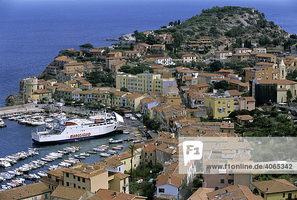 Harbour with ferry  Giglio Porto  Giglio Island  Grosseto Province  Tuscany  Italy  Europe
