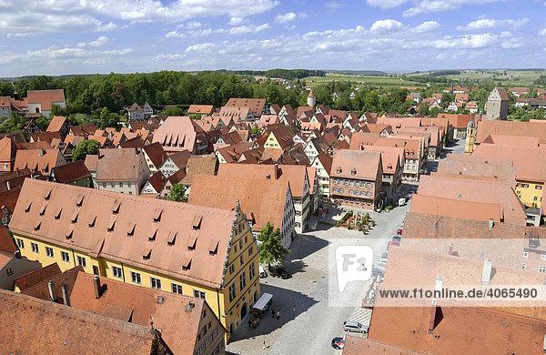 Schranne  Weinmarkt Square  Rothenburger Tor Gate  Dinkelsbuehl  Middle Franconia  Bavaria  Germany  Europe