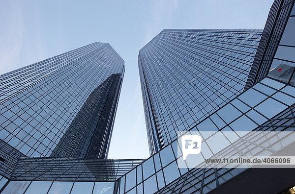Zwillingstürme Soll und Haben Deutsche Bank Hochhaus  Frankfurt/Main  Hessen  Deutschland  Europa