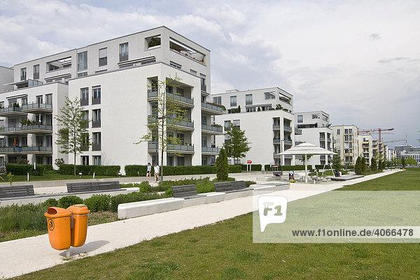 Moderner Wohnungsbau mit Grünflächen  Arnulfpark  München  Oberbayern  Bayern  Deutschland  Europa