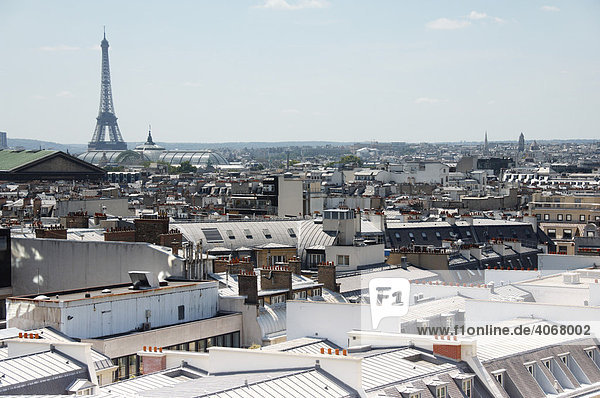 View over the roofs of Paris with the Eiffel Tower  Paris  France  Europe