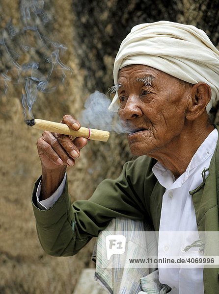 Old Burmese man smoking a cheerot or Burmese cigar  Hpo Win Daung  Monywa  Myanmar  Southeast Asia