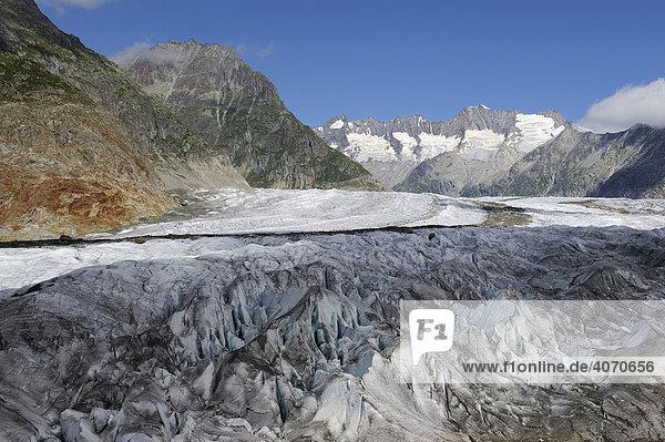 Großer Aletschgletscher  das Herz des UNESCO Weltnaturerbes Jungfrau-Aletsch-Bietschhorn  Goms  Wallis  Schweiz  Europa