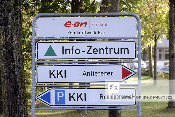 EON nuclear power station Isar II  signage  Essenbach  Bavaria  Germany  Europe
