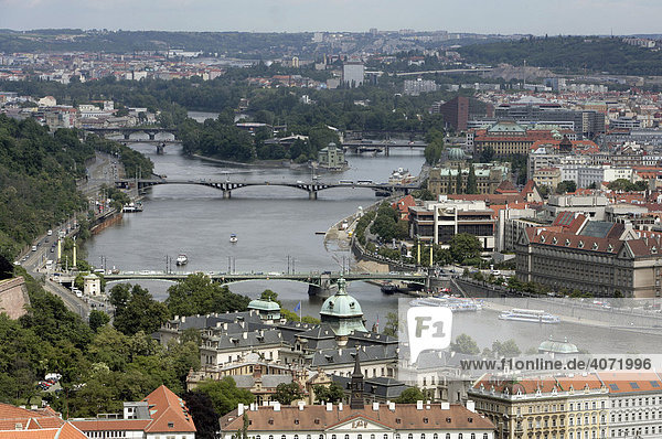 View of the city and the bridges crossing the River Moldau  Prague  Czech Republic  Europe