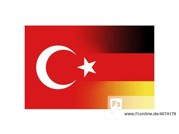deutsche und t rkische flagge verschmolzen symbolbild lizenzpflichtiges bild bildagentur. Black Bedroom Furniture Sets. Home Design Ideas