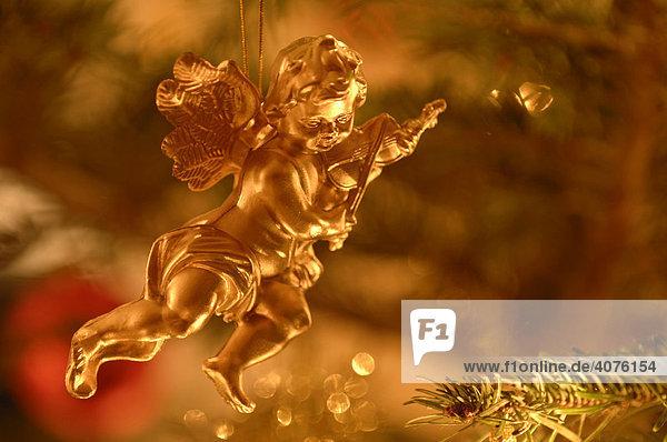 Goldener Engel  Weihnachtsschmuck am Tannenbaum