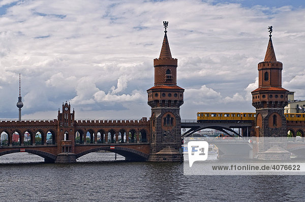 Obaumbruecke Bridge with the S-Bahn  suburban railway  in the back the television tower  Berlin  Germany  Europe