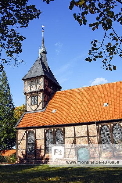 Historische Kirche St. Mariä zu Tripkau  St. Mariä-Kirche  Biosphärenreservat Niedersächsische Elbtalaue  Elbetal  Amt Neuhaus  Niedersachsen  Deutschland  Europa