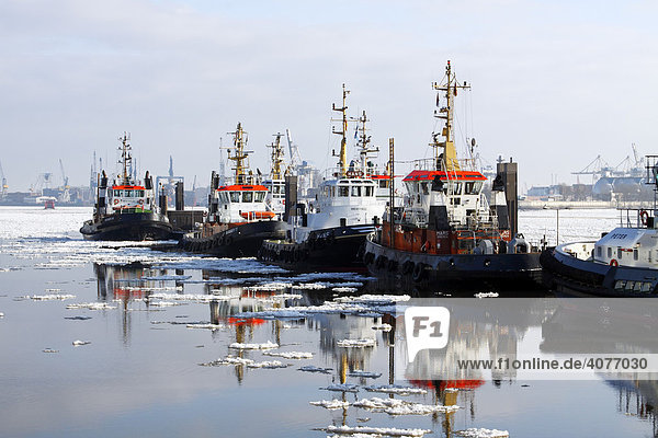 Schiffe  Schlepper im Hamburger Hafen im Winter bei Eisgang auf der Elbe  Anleger Neumühlen  Hamburg  Deutschland  Europa