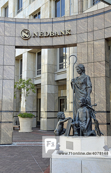 Sculpture group  shepherdess with shepherd's crook at the entrance to the Nedbank  Cape Town  South Africa  Africa