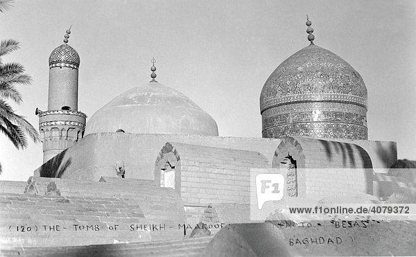 Grabanlage von Sheik Maroof  historische Aufnahme  ca. 1930  Bagdad  Irak  Mittlerer Osten  Asien