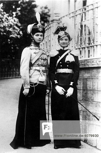 Historische Aufnahme  zwei Frauen als Husaren verkleidet  ca. 1900
