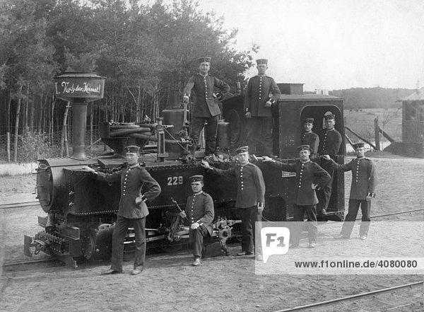 Historische Aufnahme  Eisenbahner während des Ersten Weltkrieges  ca. 1916