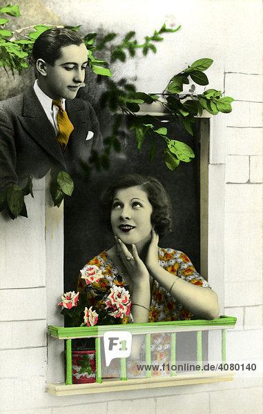 Historische Aufnahme  Flirt  ca. 1930