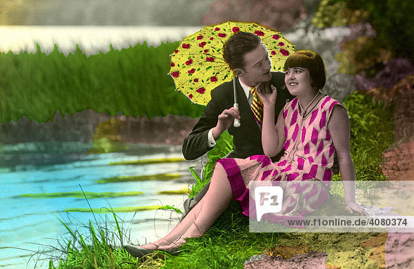 Historische Aufnahme  Paar am See  ca. 1929