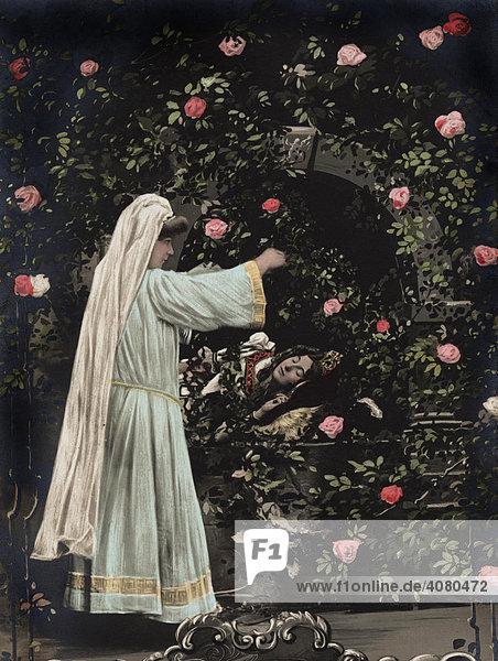 Dornröschen  Märchendarstellung  historische Aufnahme  ca. 1912