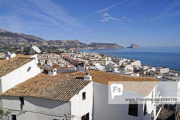 View of Calpe  Mt. Penon de Ifach  Altea  Alicante  Costa Blanca  Spain
