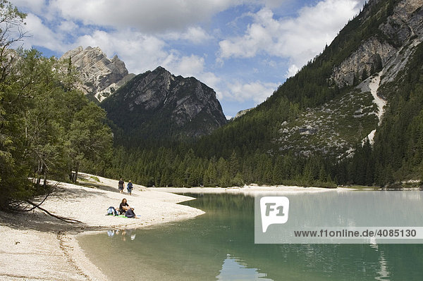 At the Pragser Lake Lago di Braies in the Puster valley South Tyrol Suedtirol Italy