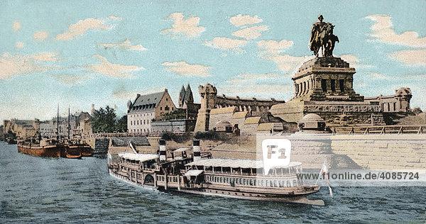 Historische Postkarte um 1900 Koblenz am Rhein Deutsches Eck Deutschland