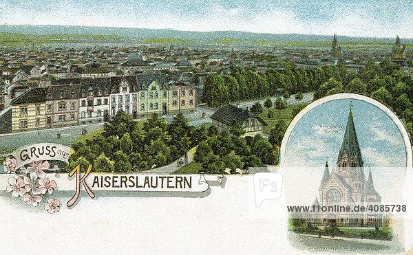 Historische Postkarte um 1900 Kaiserslautern Deutschland