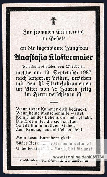 Sterbebild von 1937 Oberbayern Deutschland