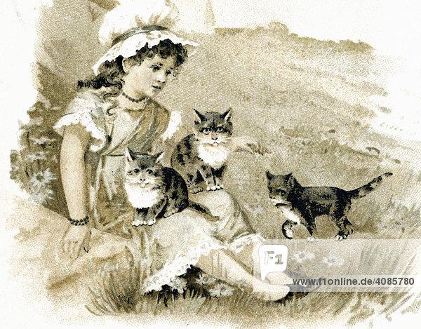 Mädchen träumt mit Katzen Postkarte um 1900