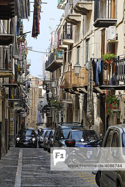 Lane in the old town Cefalù Sicily Sicilia Italy Italia