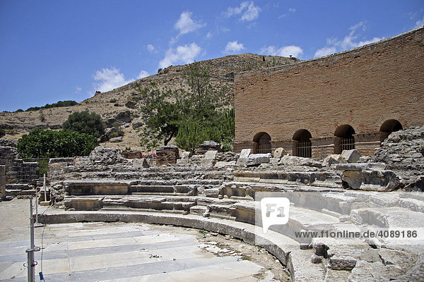 Odeion  roman settlement  excavation site Gortys  Crete  Greece