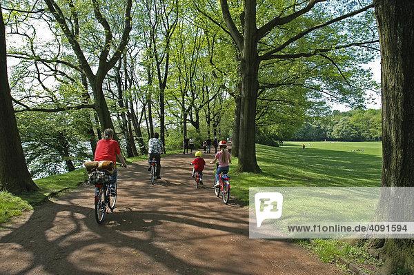 Familie faehrt Fahrrad auf einem Waldweg  Berger Anlagen  Gelsenkirchen  NRW  Nordrhein Westfalen  Ruhrgebiet  Deutschland