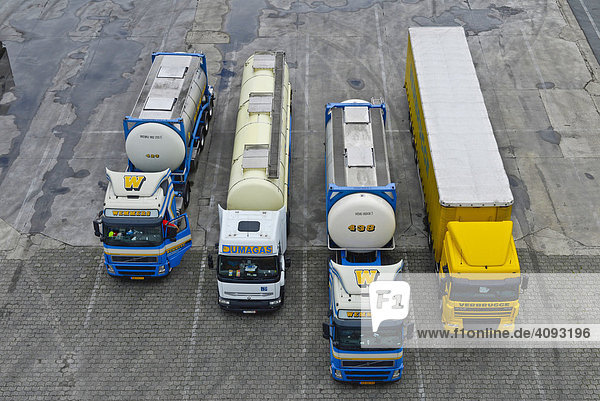 Four trucks ready to leave