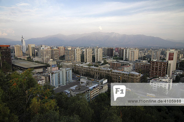 Buildings and skyline of Santiago de Chile  Chile  South America