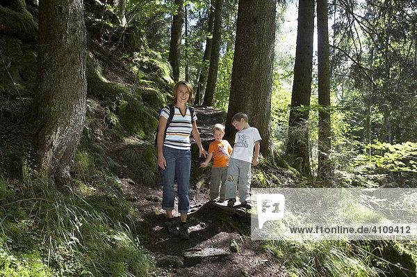 Frau wandert mit zwei Kindern durch den Wald  Kärnten  Österreich
